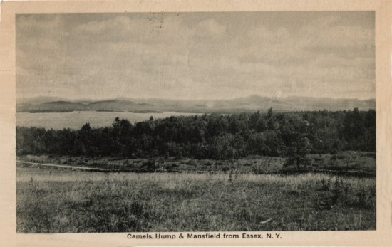 "Vintage Postcard reads: ""Camel's Hump & Mansfield from Essex, NY"""