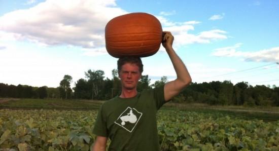 Mark Kimball with Big Doris Pumpkin
