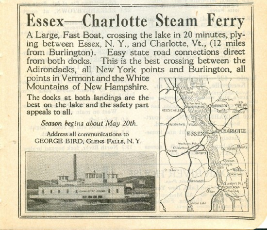 Essex ferry ad from 1925 Automobile Blue Book, Volume 1