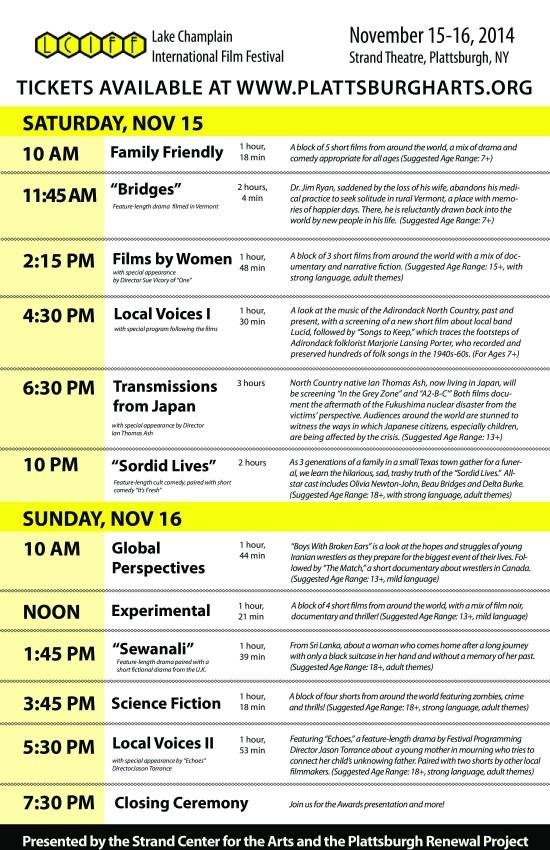Lake Champlain International Film Festival Program Schedule (Click for full size)