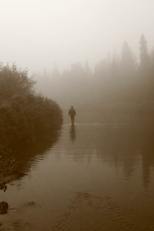 Angler walking upstream in morning mist (Credit: Drew Hass)