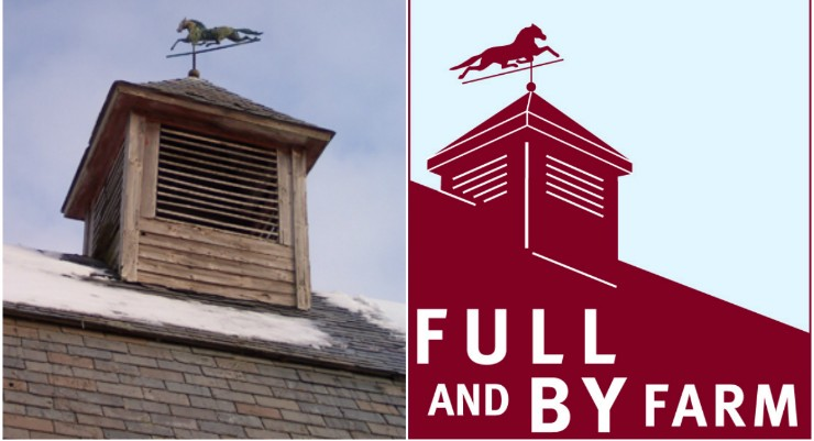Full and By Farm cupola in winter and logo (collage)