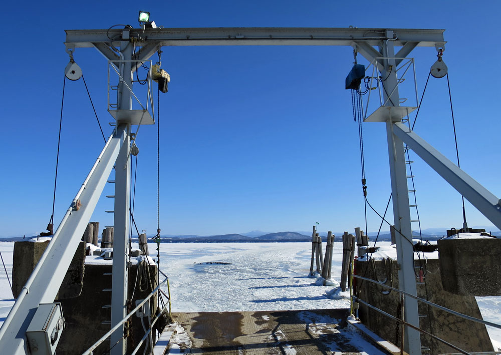 Essex Ferry Gallows on Monday, February 16. LCT announced ferry service discontinued until ice is clear.