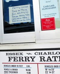 Essex Ferry Ticket Booth on Monday, February 16. LCT announced ferry service discontinued until ice is clear.
