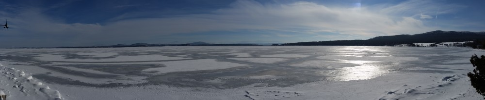 Photograph of frozen Lake Champlain taken by February 11, 2015 by Andy MacDougal.