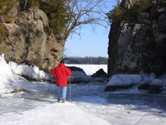 Will Reinhardt looking through the opening at Split Rock on March 9, 2014 . (Credit: Kathy Reinhardt)