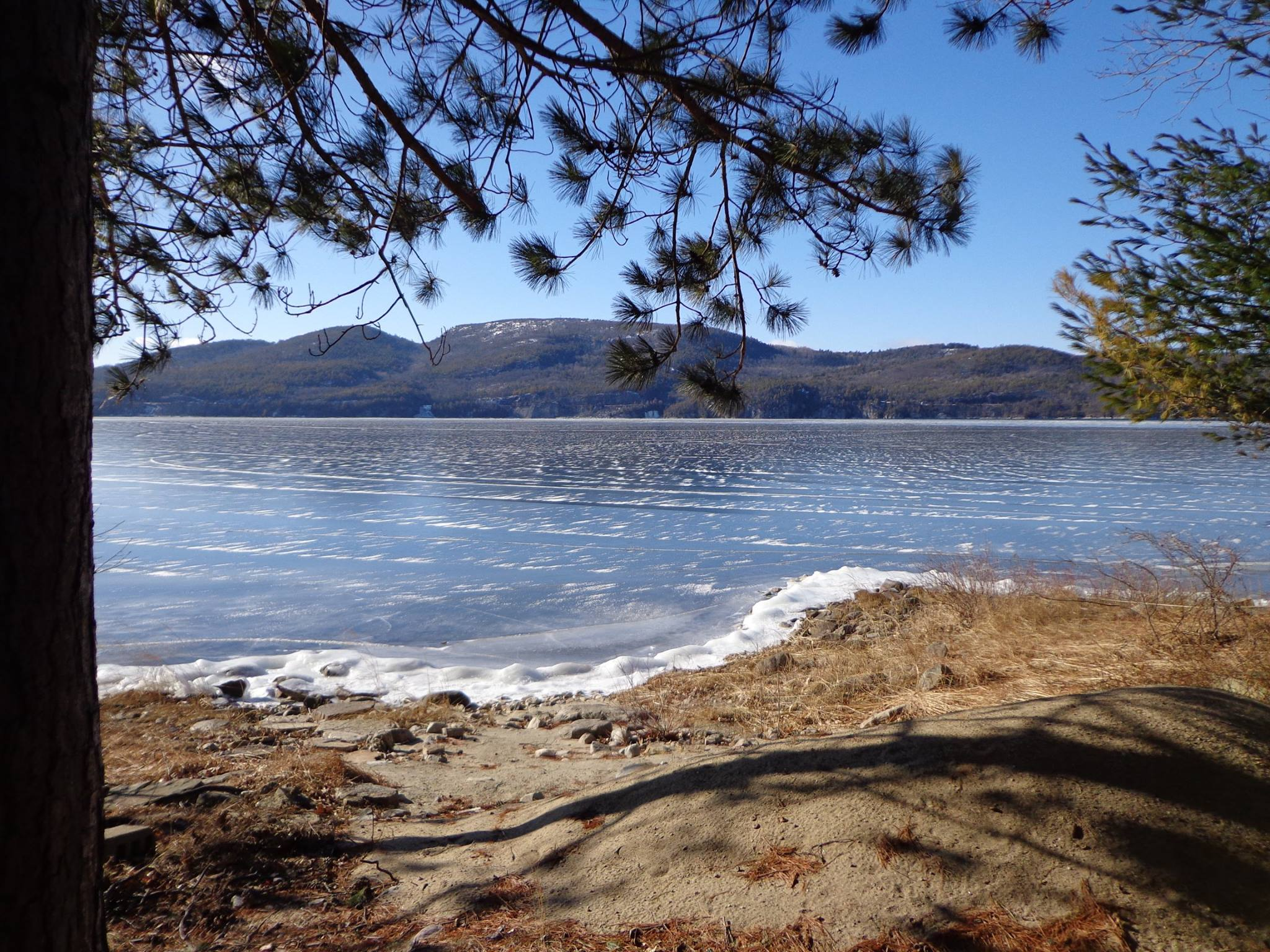 View of Frozen Lake Champlain from Ret. Col. Richard M. Connor Sr.'s camp on Indian Bay, January 25, 2015. Willsboro Point, New York. (Credit: Wendy Burt)