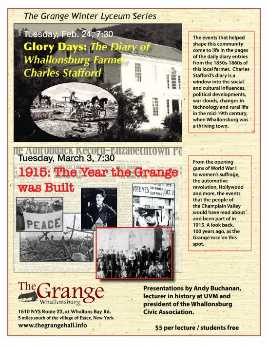 Grange Lyceum Poster 2015- The Grange 2015 Lycuem Series beings with two history lectures!