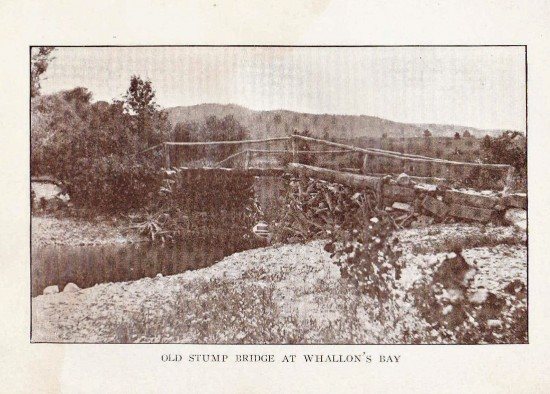 """Old Stump Bridge at Whallons Bay (Credit: W.H. Cruikshank; Appeared in """"Essex Souvenir Letter"""" sent March 18, 1908)"""