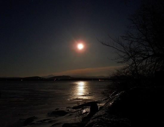 Moonlit Path on Frozen Lake Champlain