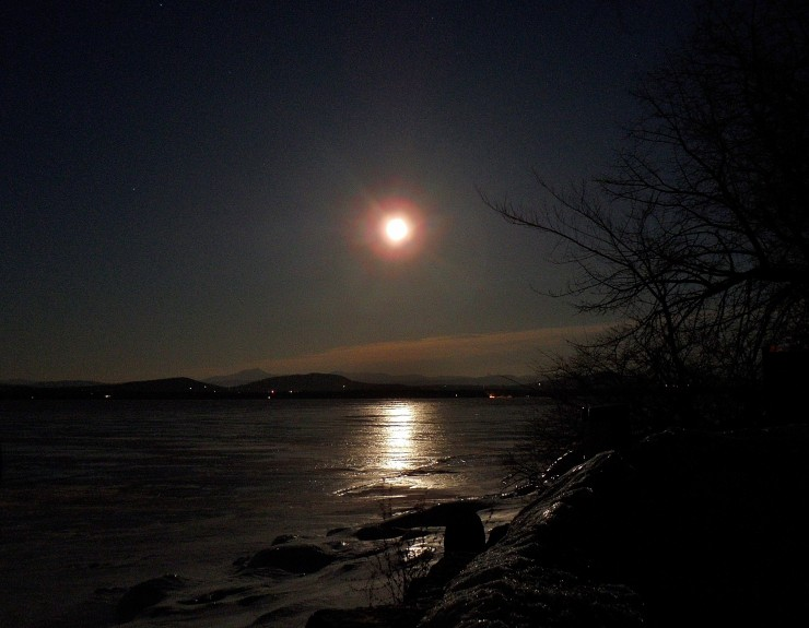 Moonlit Path on Frozen Lake Champlain (Credit: Kristen Eden)