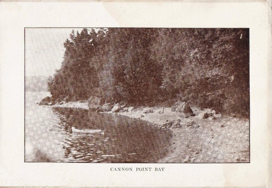 "Cannon Point Bay (Credit: W.H. Cruikshank; Appeared in ""Essex Souvenir Letter"" sent March 18, 1908)"