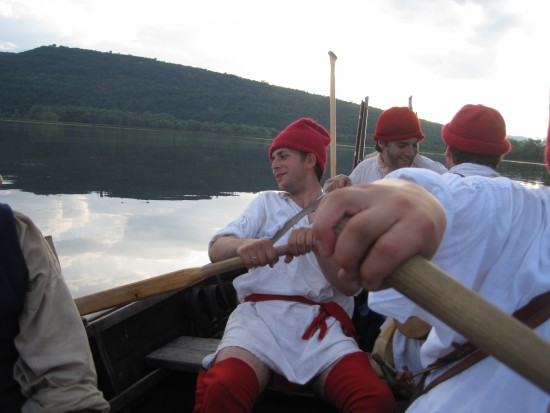 Experience an exciting Living History Event at Fort Ticonderoga during opening weekend on May 9 and 10. (Image of Fort Ticonderoga Museum interpretative staff rowing in a bateau down Lake Champlain. Credit: Fort Ticonderoga)