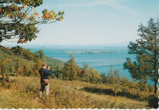 Postcard: Looking at Schuyler Island (Credit: Dean Color, Glens Falls, NY)