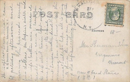 Whallonsburg Covered Bridge Postcard 1909-back