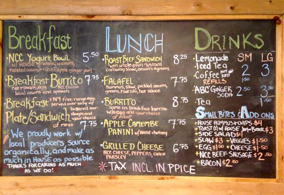 2015 Menu for Clover Mead Cafe in Keeseville, NY (Photo: Marla Gilman)