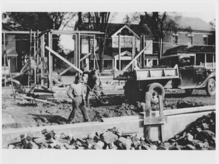 The construction of the Van Ornam Building (Credit: Unknown; Shared by Rick & Karen Dalton)