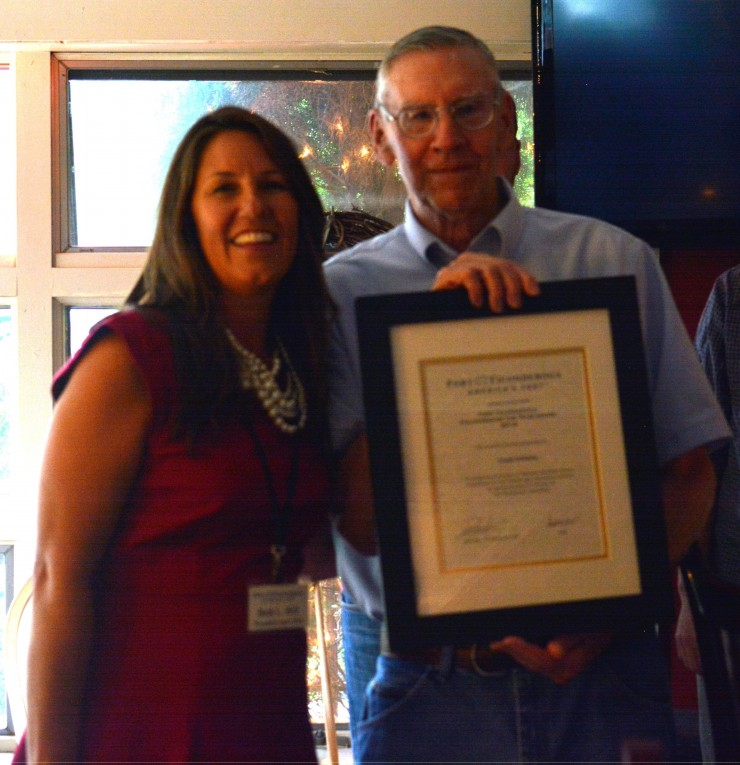 Frank Schlamp receiving the Volunteer of the Year award from Fort Ticonderoga's President & CEO, Beth Hill during the annual Volunteer Reception held on Thursday September 10, 2015. (Credit: Fort Ticonderoga)