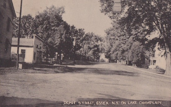 Vintage Postcard: Depot Street, Essex, NY (Published by the Collotype Co. Elizabeth NJ & NY)