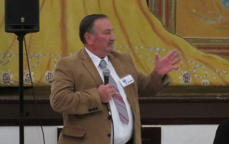 Ed Gardner speaking at the 2015 Election Forum at the Whallonsburg Grange Hall. (Credit: virtualdavis)