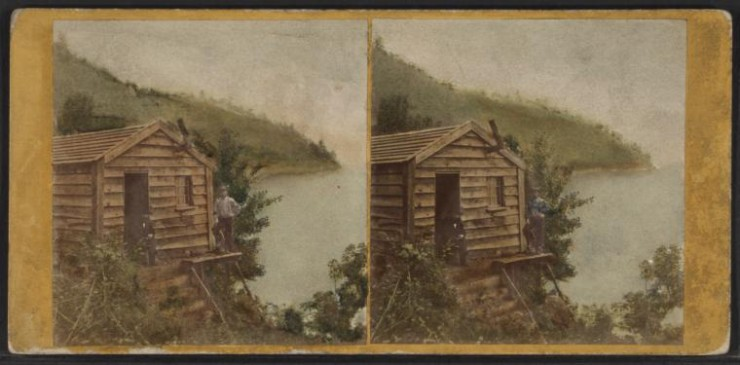 Lewis Ore Beds Stereoview - front