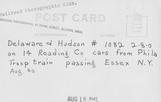 Vintage Train Postcard-Back