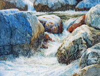 """Converging Water"" by Ann Pember. Watercolor Painting."