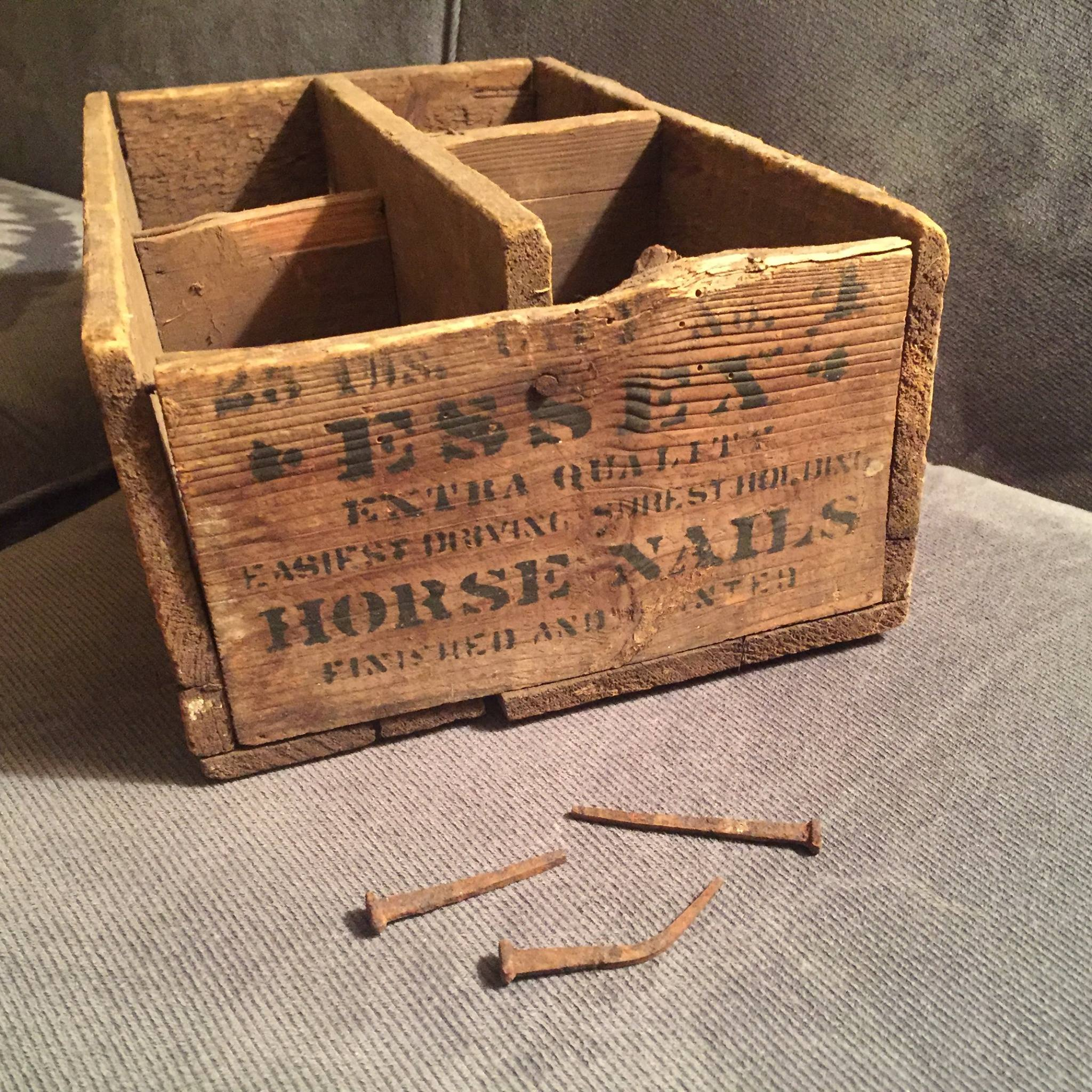 Essex horse nails box (and nails) from Essex Horseshoe Nail Factory (Source: Dianne Lansing)