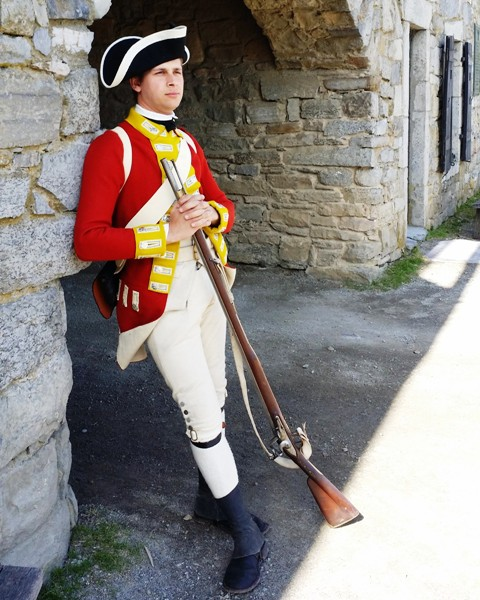 """1775 British Garrison"" Living History Event takes place Saturday, March 19 at Fort Ticonderoga. (Image of Senior Director of Interpretation Stuart Lilie portraying a soldier of the 26th foot.)"