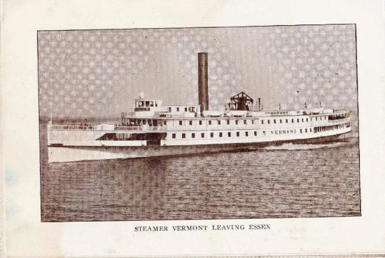 "Vintage Photo: Steamer Vermont Leaving Essex, NY (Credit: W.H. Cruikshank; Appeared in ""Essex Souvenir Letter"" c. 1908)"