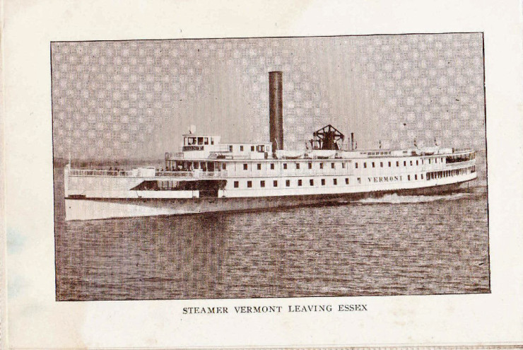 "Vintage Photo: Steamer Vermont Leaving Essex, NY (Credit: W.H. Cruikshank; Appeared in ""Essex Souvenir Letter"" c. 1908)"