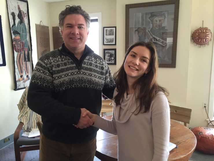 Heather Moore being congratulated by Vermont Commons Head of School Dexter Mahaffey. (Credit VCS)