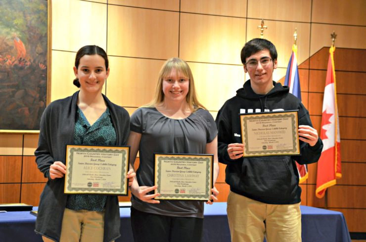 Image of New York State History Day winners Alice Cochran, Christina Lashway, and Nicholas Manfred from Moriah Central School.