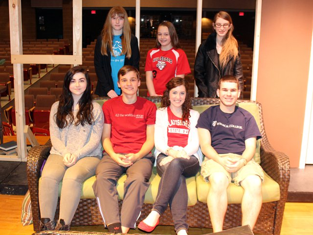 The cast and crew of the Willsboro Central School Drama Club production includes, back from left, Erinn Walker, Jenna Ford, Makayla Anson, front from left, Ellie Vanderhoof, Max Longware, Taressa Lacey and Connor Sheehan. (Credit: Keith Lobdell)