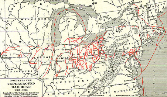 Underground Railroad Routes - Large Map (Credit: Wikipedia)
