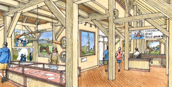 Large anchor beams with thru tenons and celebrated joinery will tie the frame of locally harvested pine and hardwoods together. (Credit: Saratoga Associates)
