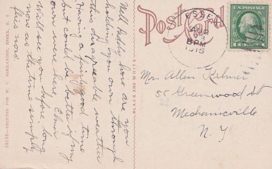 Vintage Postcard: North Bay, Essex, NY - back