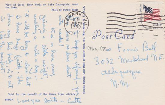 Vintage Postcard: Lake View of Essex - back