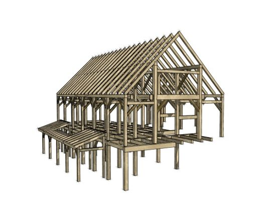 "Community Building Projects are the heart and soul of the Timber Framers Guild: they are where all points of our mission converge. ""The timber frame is a modern take on a traditional Dutch style barn that was common in the Hudson Valley"", states Mike Beganyi, the frame designer. (Credit: Mike Beganyi)"