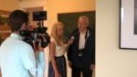 myChamplainValley morning news reporter Alaina Pinto interviews Jim Friday at the Adirondack Art Association on June 9, 2016 for ABC 22 and FOX 44. (Source: Christina Elliott, AAA Director)