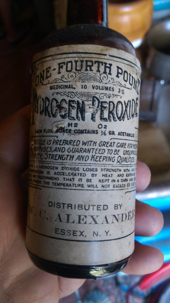 Vintage Artifact: Hydrogen Peroxide Bottle Distributed by W.C. Alexander of Essex, NY