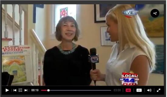 MyChamplainValley (ABC 22/FOX 44) morning reporter Alaina Pinto interviewed Karen Parker at the Adirondack Art Association on June 9, 2016.
