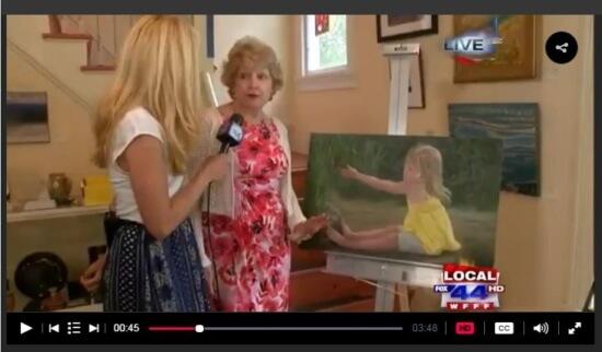 MyChamplainValley (ABC 22/FOX 44) morning reporter Alaina Pinto interviewed Katherine Richards Clark at the Adirondack Art Association on June 9, 2016.