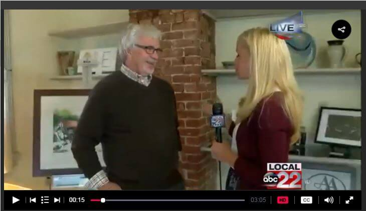 MyChamplainValley (ABC 22/FOX 44) morning reporter Alaina Pinto interviewed Ric Feeney at the Adirondack Art Association on June 9, 2016.