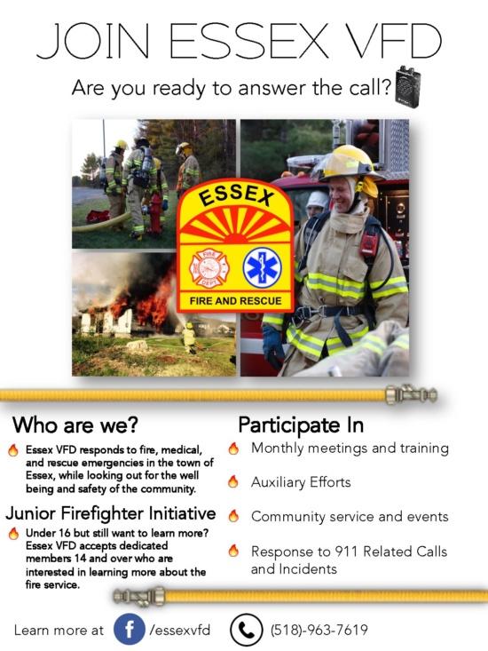 Essex Fire Dept. Recruitment Flyer