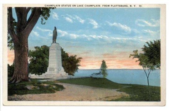 Vintage Postcard: Champlain Statue in Plattsburg circa 1917 - front
