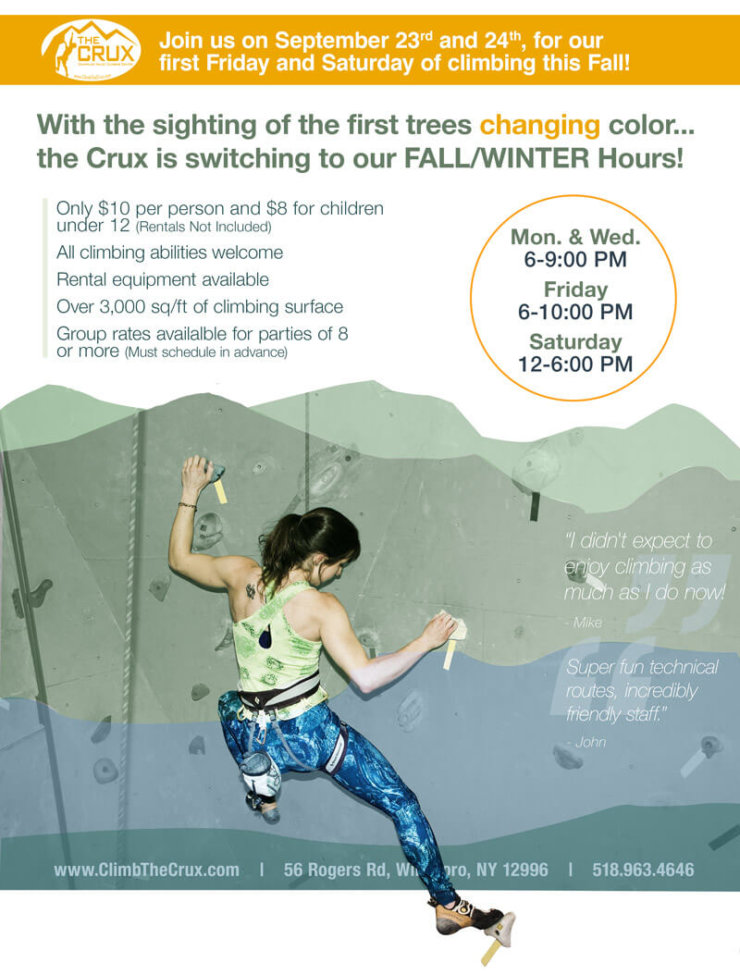 Crux Fall/Winter Hours 2016 Poster