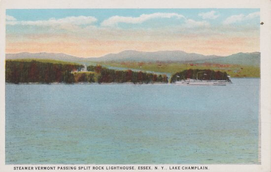 Vintage Postcard: Split Rock and Steamer Vermont