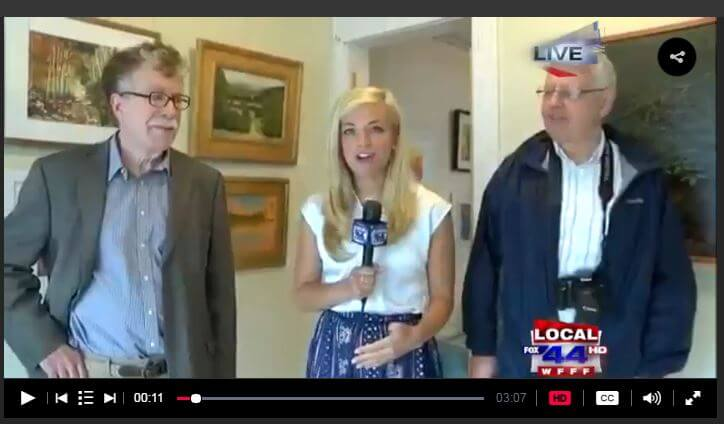 MyChamplainValley (ABC 22/FOX 44) morning reporter Alaina Pinto interviewed Tim Palkovic and Jim Friday at the Adirondack Art Association on June 9, 2016.