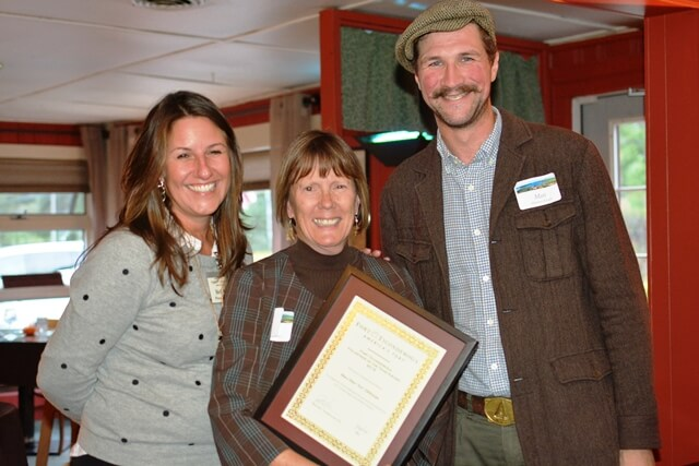Mary Ellen Ellithorpe is presented with the 2016 Fort Ticonderoga's Volunteer of the Year Award